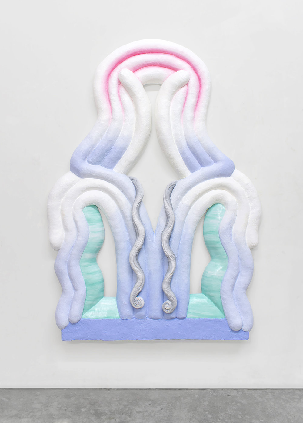 Double wavy window , 2018 oil, paper pulp and plaster on panel, 65 x 47 x 5 inches