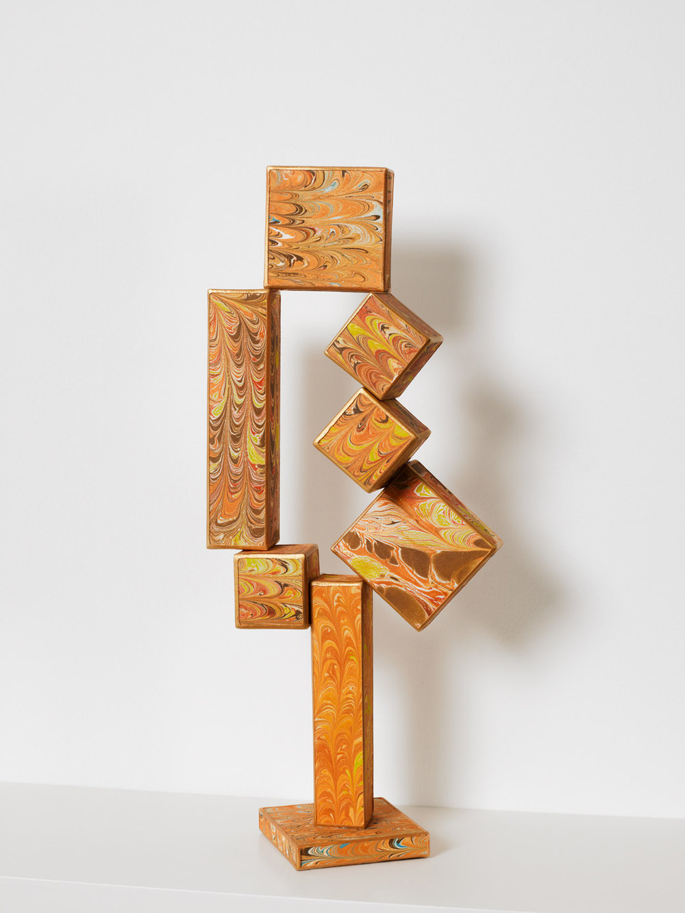 No side to fall in (Cubi XII) , 2012, paper, acrylic, wooden armature  18.5 x 7 x 3 inches