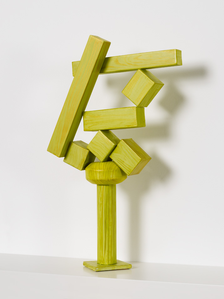 Old enough to repaint but young enough to sell (Cubi XVIII),  2011, paper, acrylic, wooden armature, 18.5 x 11.5 x 4.5 inches