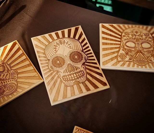 New weekend, new art. We're showing Saturday and Sunday @treasureislandflea. Take a break from the rain with us this sunny day. #saturday #sugarskull #laserart #laser #instagood #picoftheday  #fleamarket #sanfrancisco #weekend #weekendfun #oaklandartists