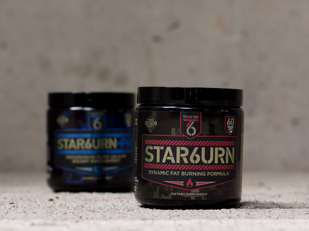 STACKABLE CAFFEINE-FREE FORMULA    Being 100% caffeine-free STAR6URN can be stacked with various T-6 products depending on specific goals. Often combined with Stimulant-1 Pre Workout, STAR6URN can take your results to the next level. Most users often use STAR6URN-PM at night as well to get 24/7 systematic fat burning.