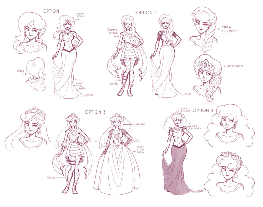 Early design work for Princess Misty.