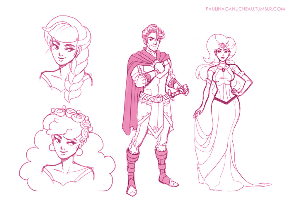 Very early designs for Prince Pete and Princess Misty.