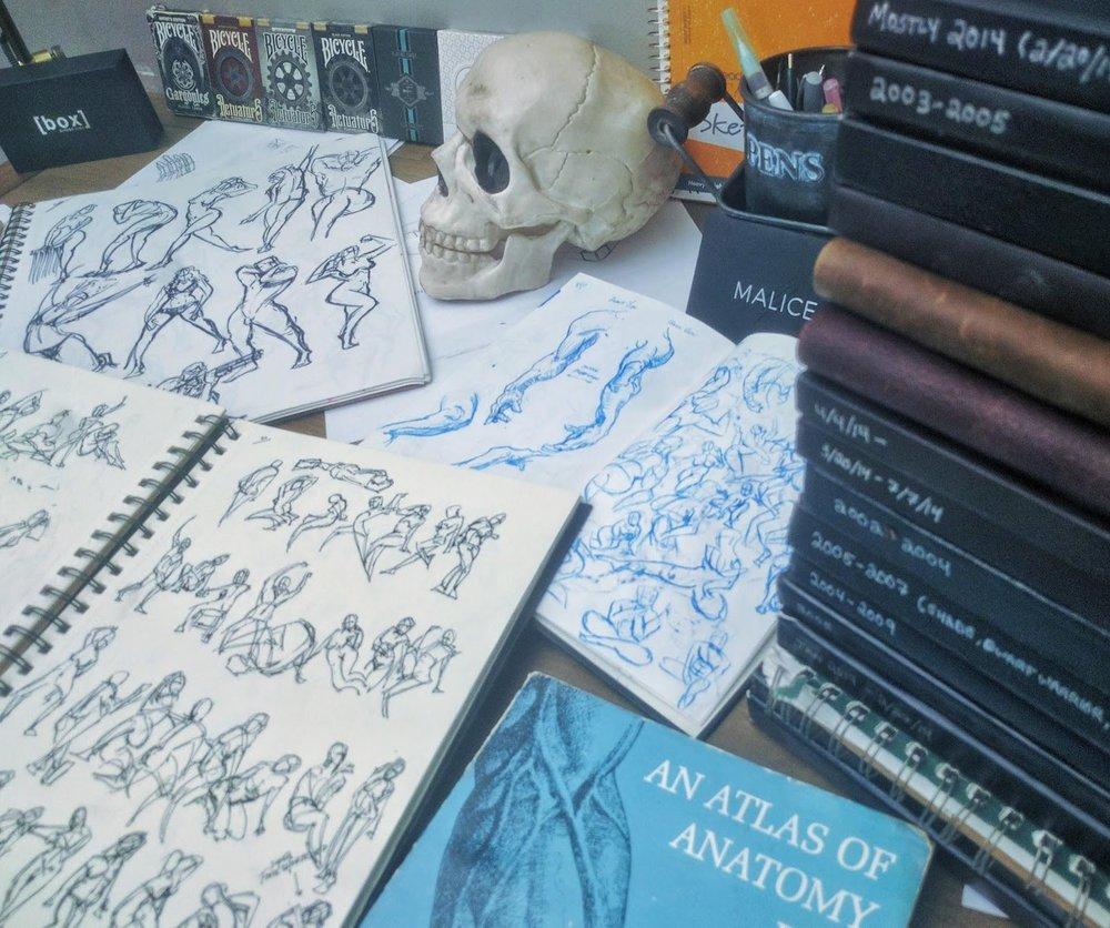 Originally unused sketchbooks 2003 - 2009 and Human anatomy studies 2014 - 2017