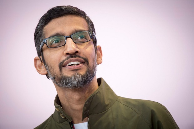 "Google CEO Sundar Pichai said Google would not pursue any AI technologies that could cause ""overall harm"" to humanity. Michael Short"