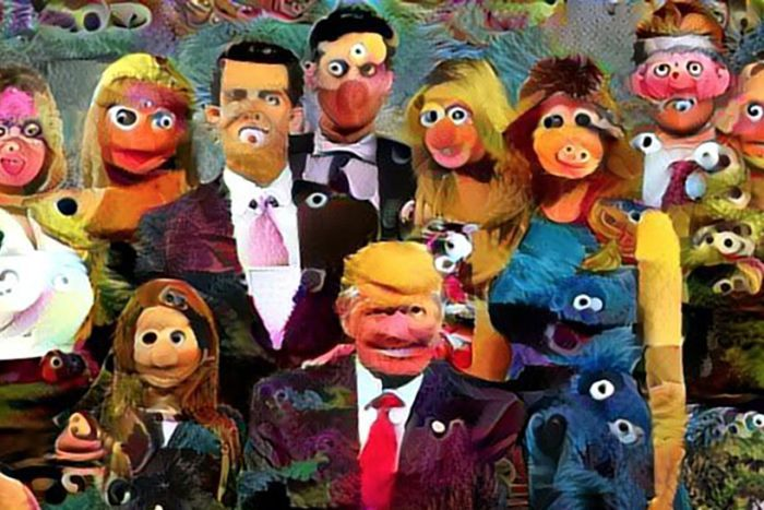 PHOTO:  Rodley combined images of the Trump family with Sesame Street Muppets to a deeply unsettling effect. (Supplied: Chris Rodley)