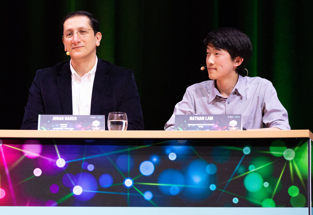 From left: Jonar Nader, digital age philosopher, author and principal, Logictivity; and Nathan Lam, computer engineering student, UNSW.