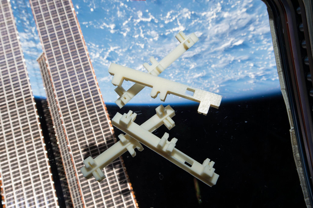 3D printed components made on the International Space Station.