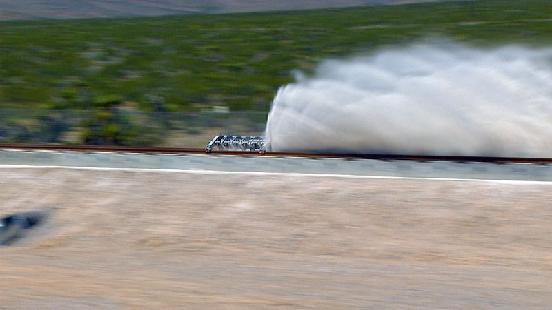 A hyperloop oper air propulsion test conducted between two points in Nevada. (AP)