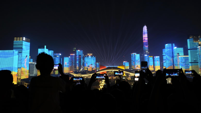 Shenzhen in China has been transformed from fishing village to the country's Silicon Valley. Here, bulidings in the city were lit up to celebrate the 40th anniversary of economic reform in China. CREDIT:SANGHEE LIU