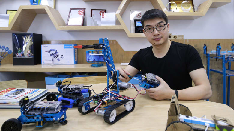 Jasen Wang's company Makeblock sells educational robotics kits to 5 million users in 160 countries worldwide. CREDIT: SANGHEE LIU