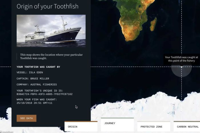 PHOTO: Blockchain tracking technology shows the journey of a Patagonian toothfish.(WWF)