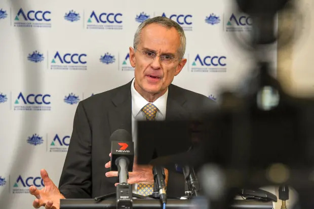 ACCC Chair Rod Sims speaks to media following the release of the preliminary report of the Digital Platforms Inquiry into Google, Facebook and Australian media in December. Peter Rae