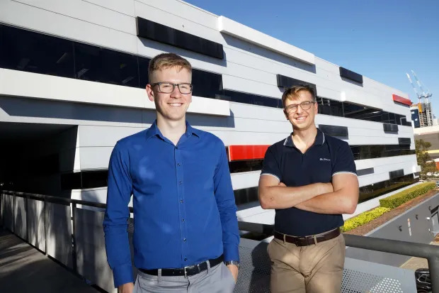 Aaron Hurst (left) and Kyle Saltmarsh. Both are now consulting to Rio Tinto at its operations centre in Perth, where they have picked up the nickname of the Watson Twins, in recognition of IBM's deep-learning AI system, Watson. TREVOR COLLENS