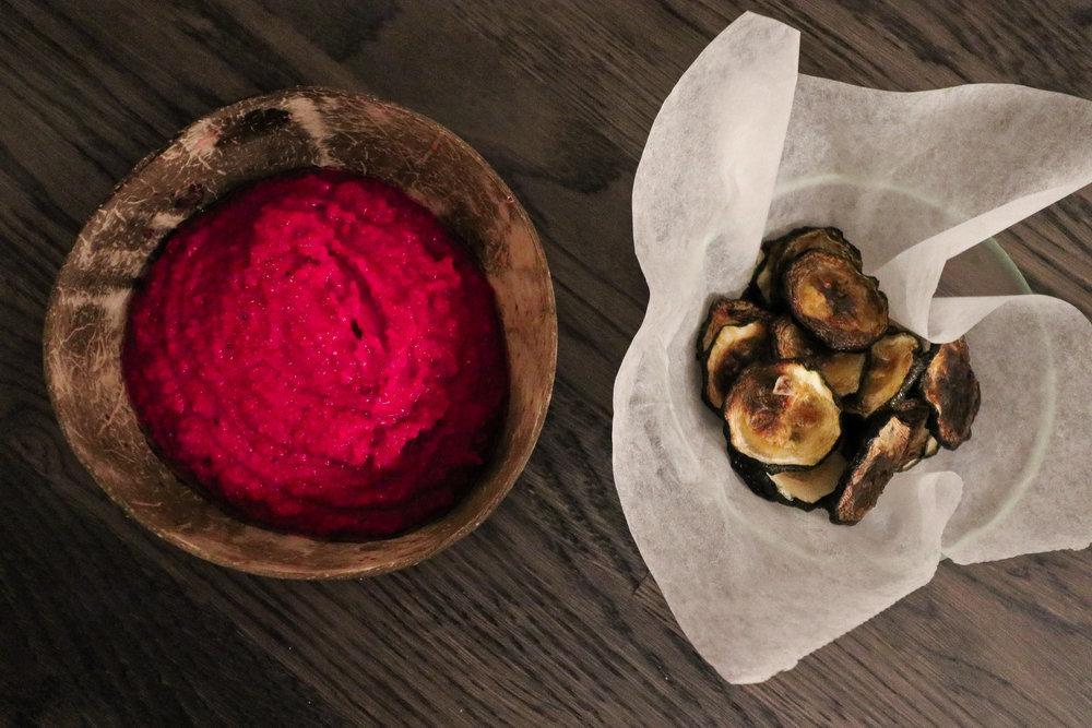Beetroot hummus with zucchini chips Photo by Linda Haggh.jpg