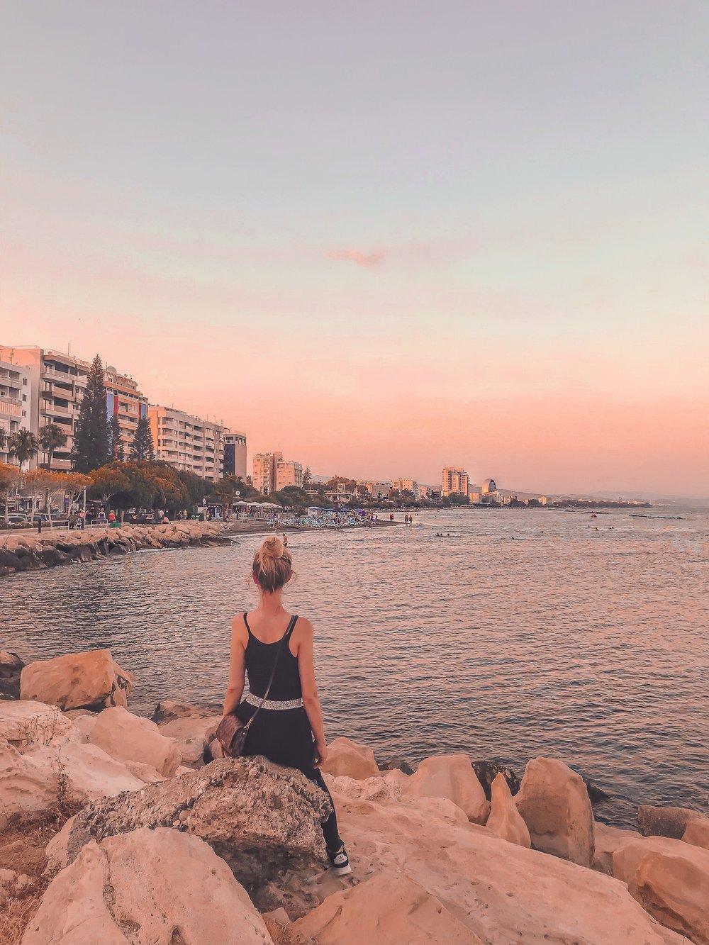 Power walk and Sunset at the beautiful Limassol beach promenade