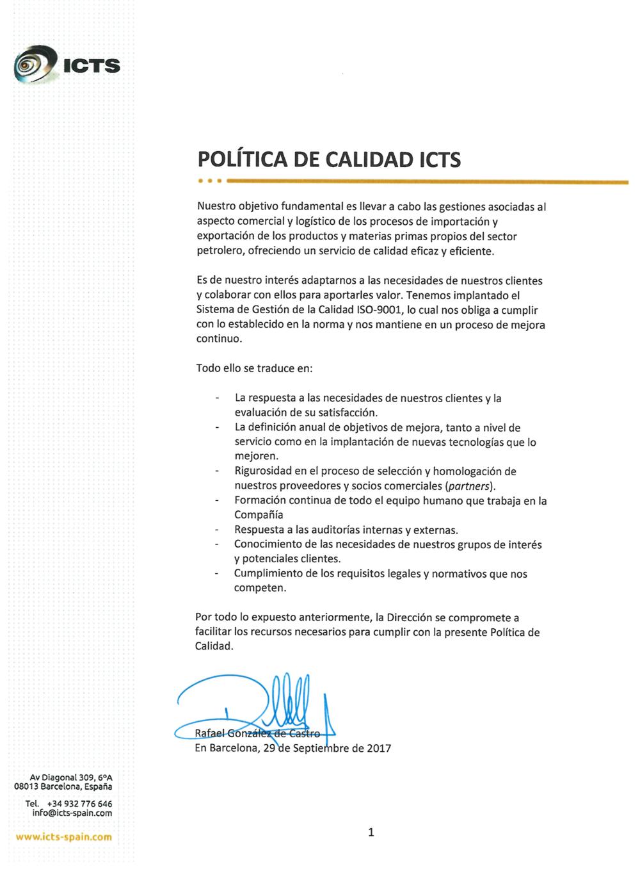POLÍCAS DE CALIDAD