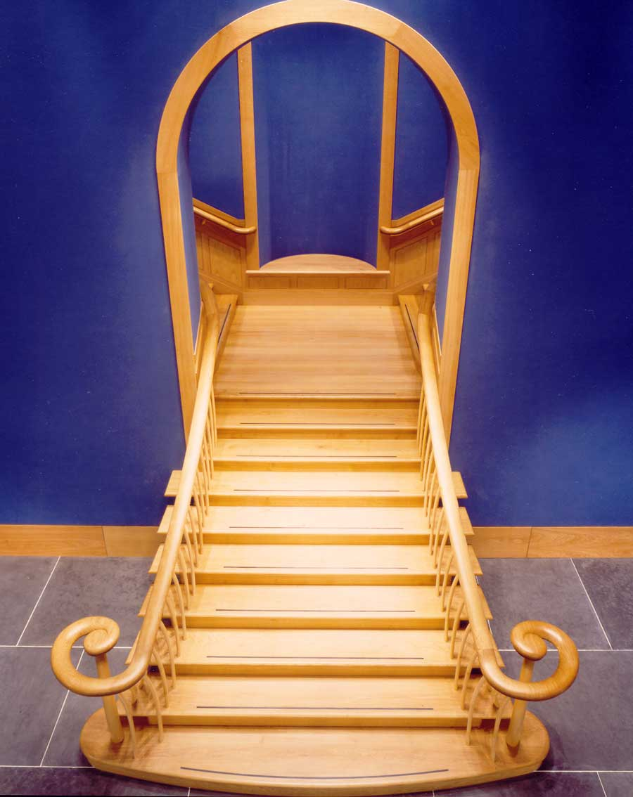Staircase in oak and sycamore for the Queens Gallery, Edinburgh.