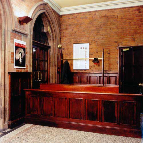 Reception desk, Scottish National Portrait Gallery.
