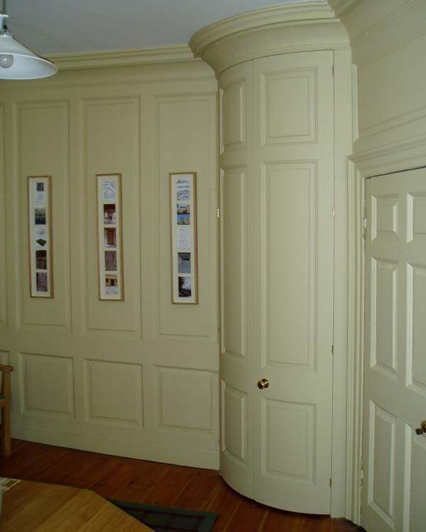 Curved corner cupboard for a panelled room, Midlothian.