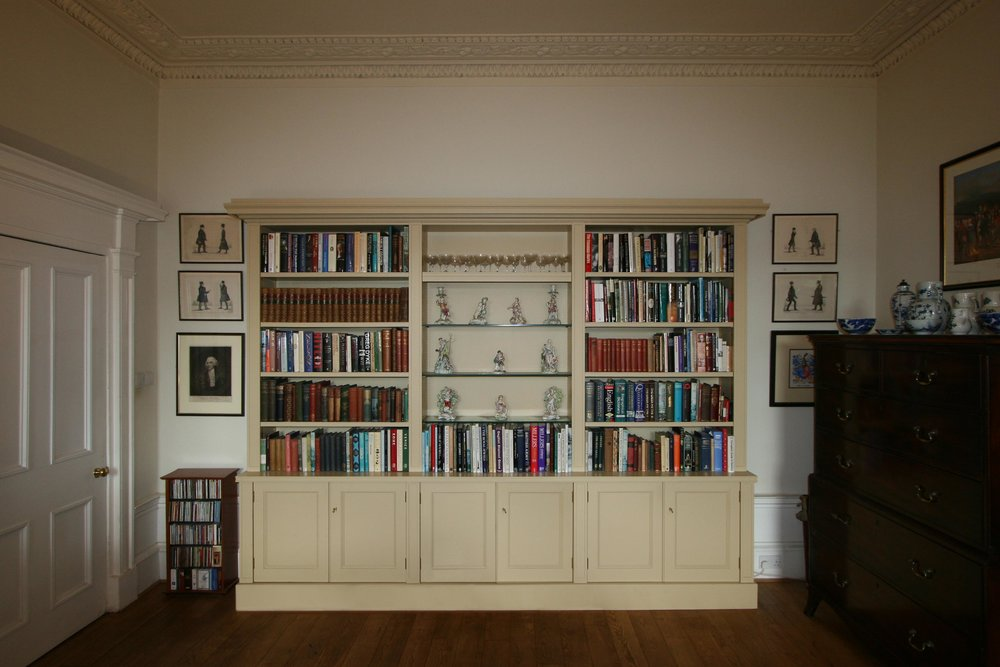 Fitted bookcase with detailing carefully considered to match its setting, Edinburgh.