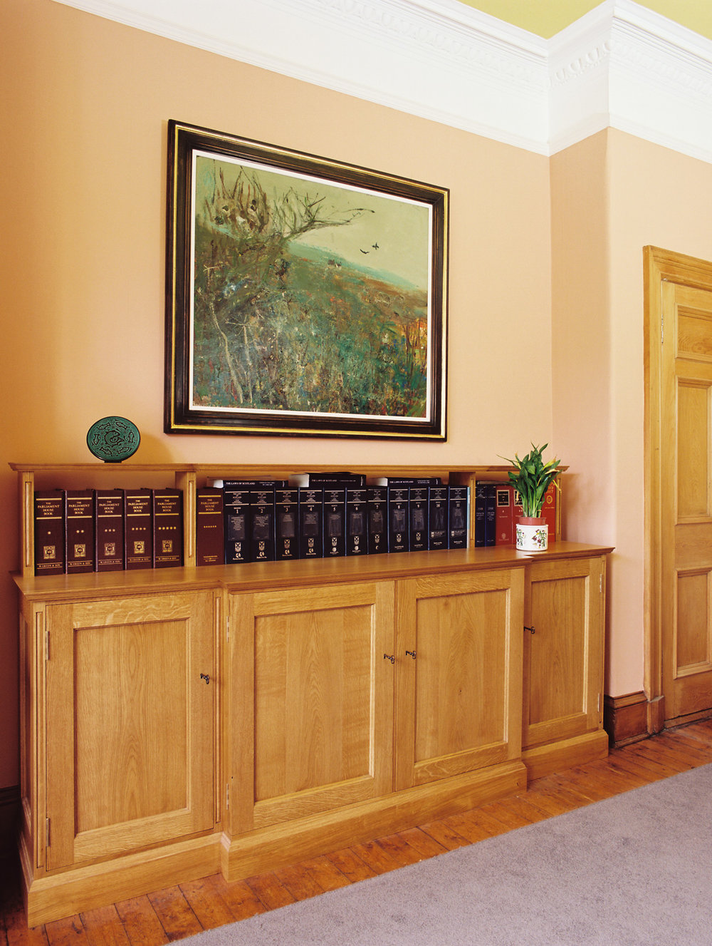 Fitted oak unit in a historic building, Edinburgh.