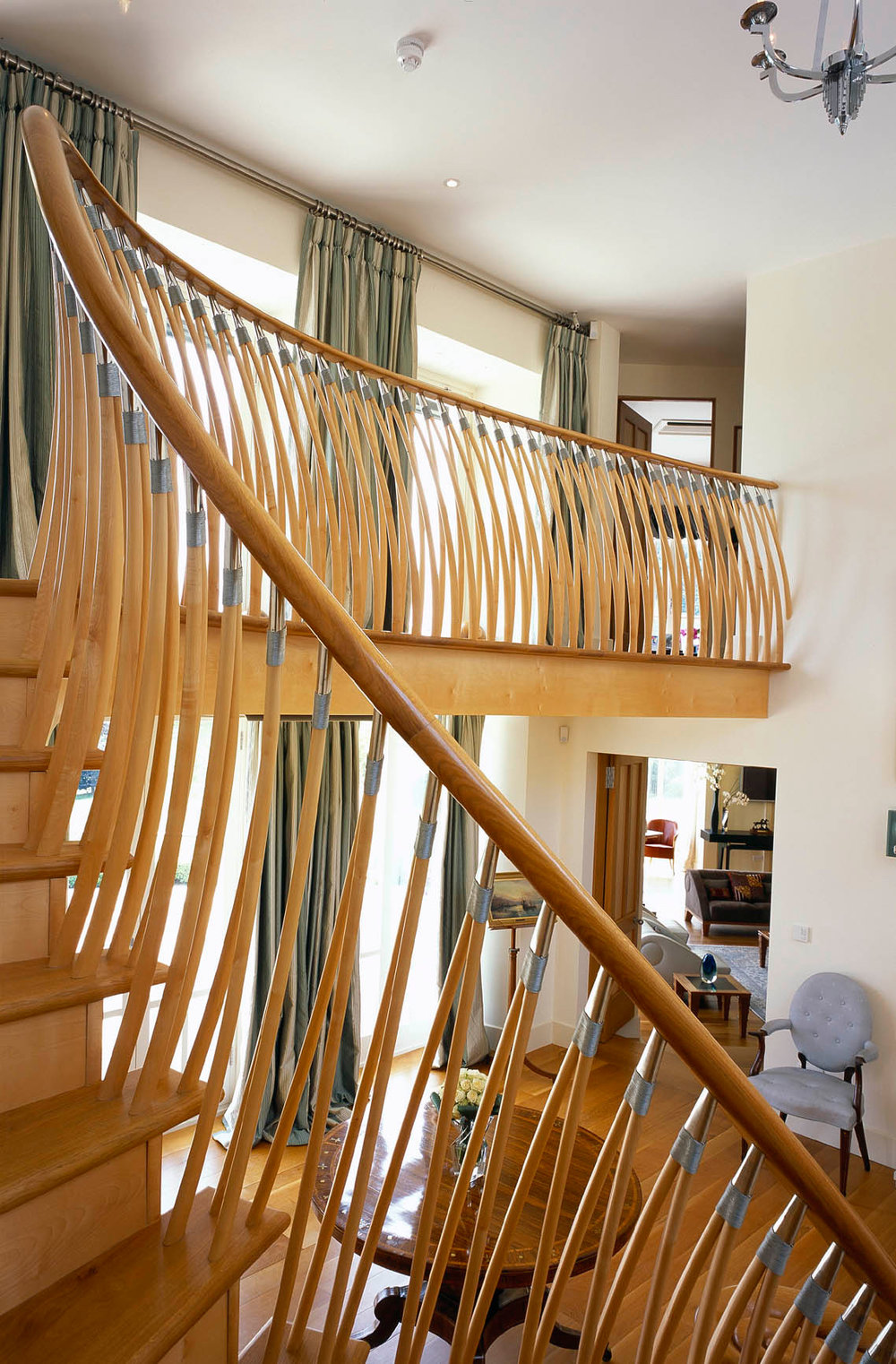 Contemporary staircase and doors in sycamore and oak, private house, London.