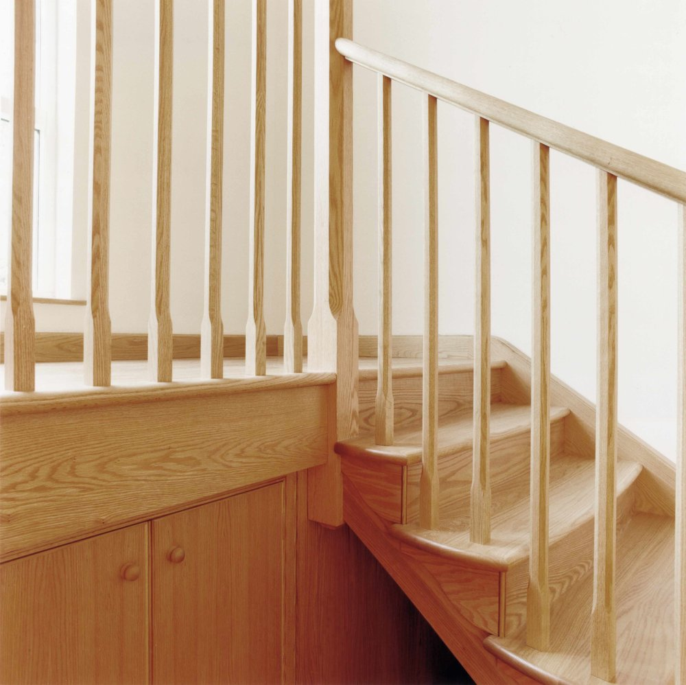 Contemporary staircase in oak for Edinburgh townhouse.
