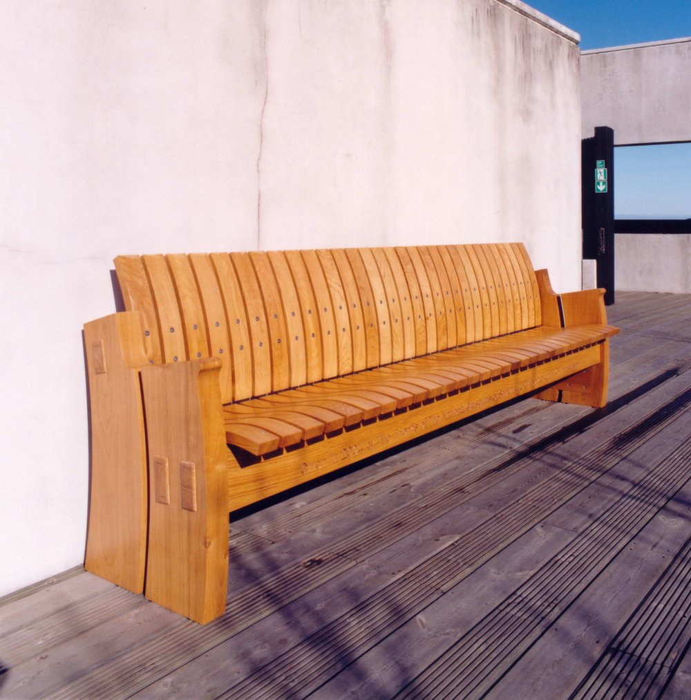 Oak outdoor benches, National Museum of Scotland.