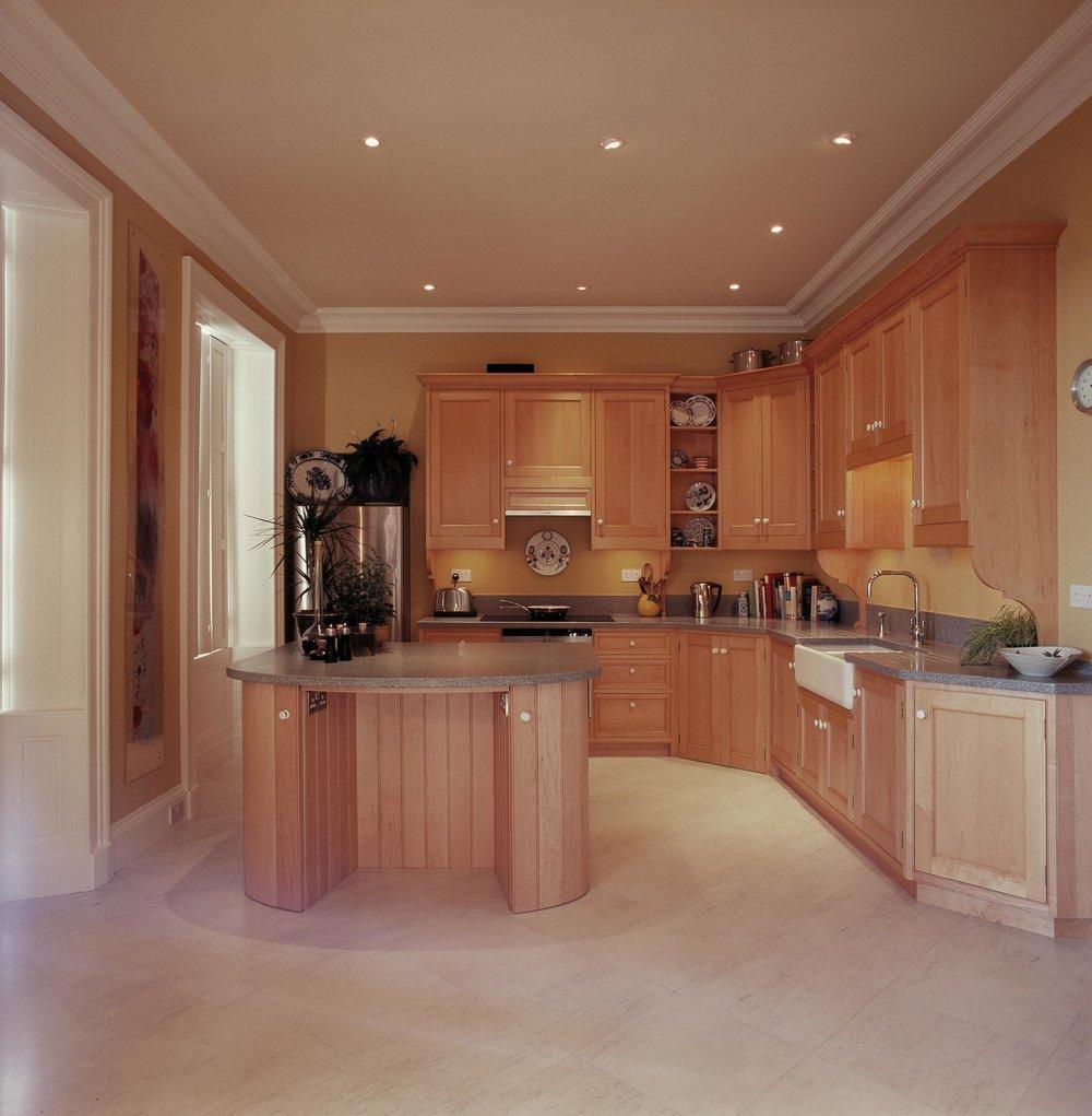 Bespoke kitchen in sycamore, the Grange, Edinburgh.