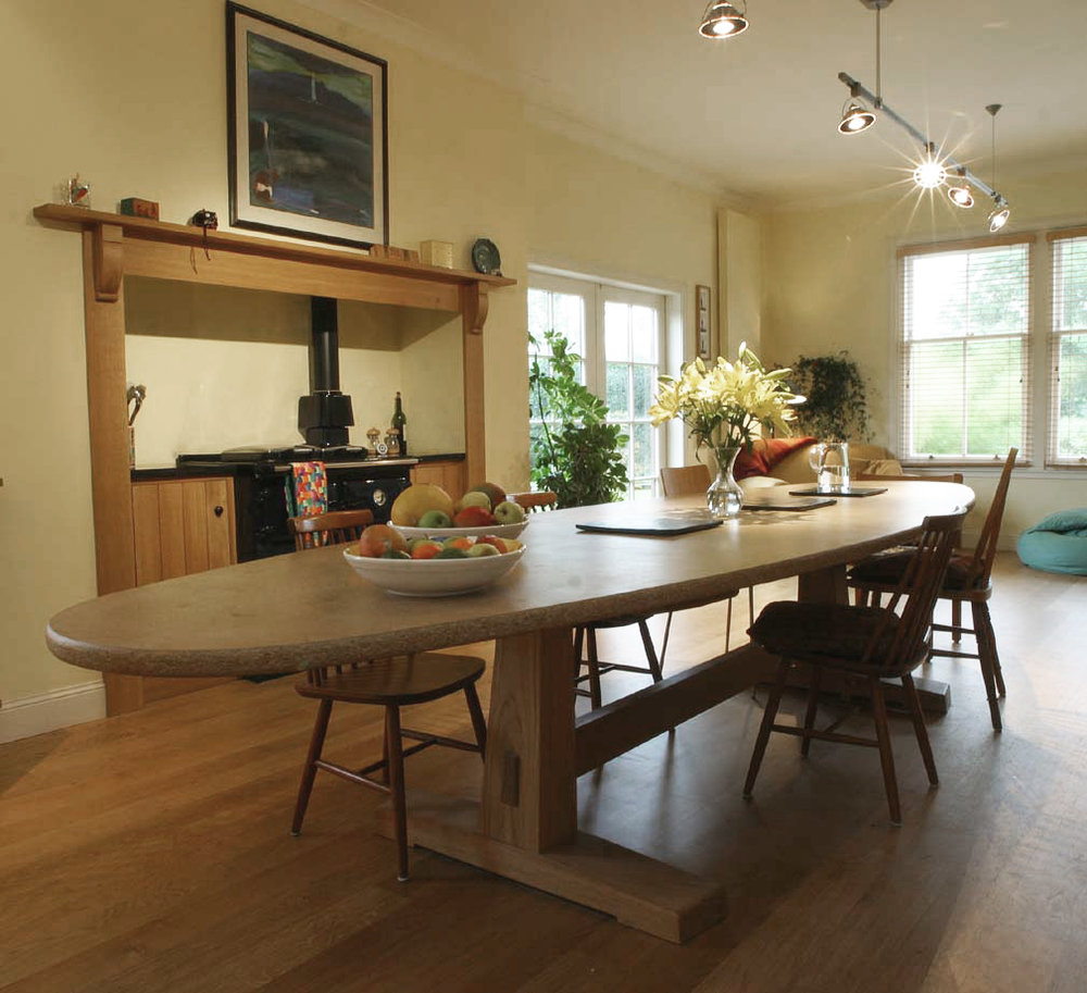 Dining table and surround for Midlothian property.
