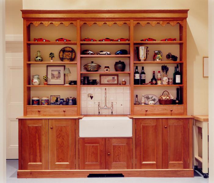 Welsh dresser style kitchen unit with Belfast sink in yellow pine, Midlothian.