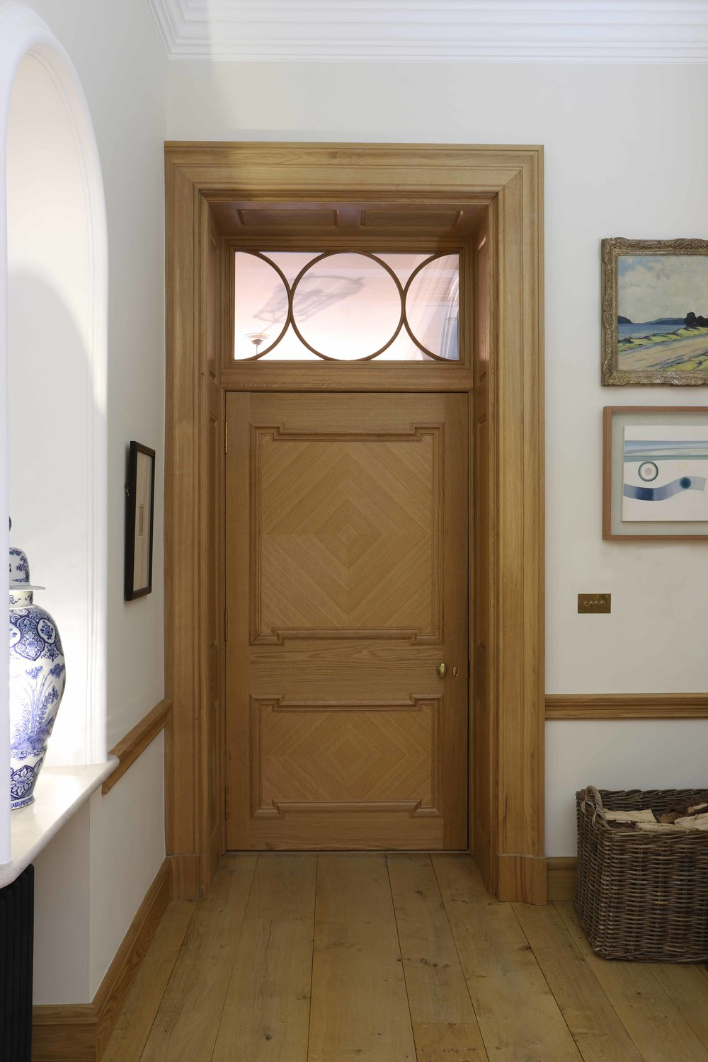 Internal door, glazed section with circular astragals, Oiled oak, Marchmont house.