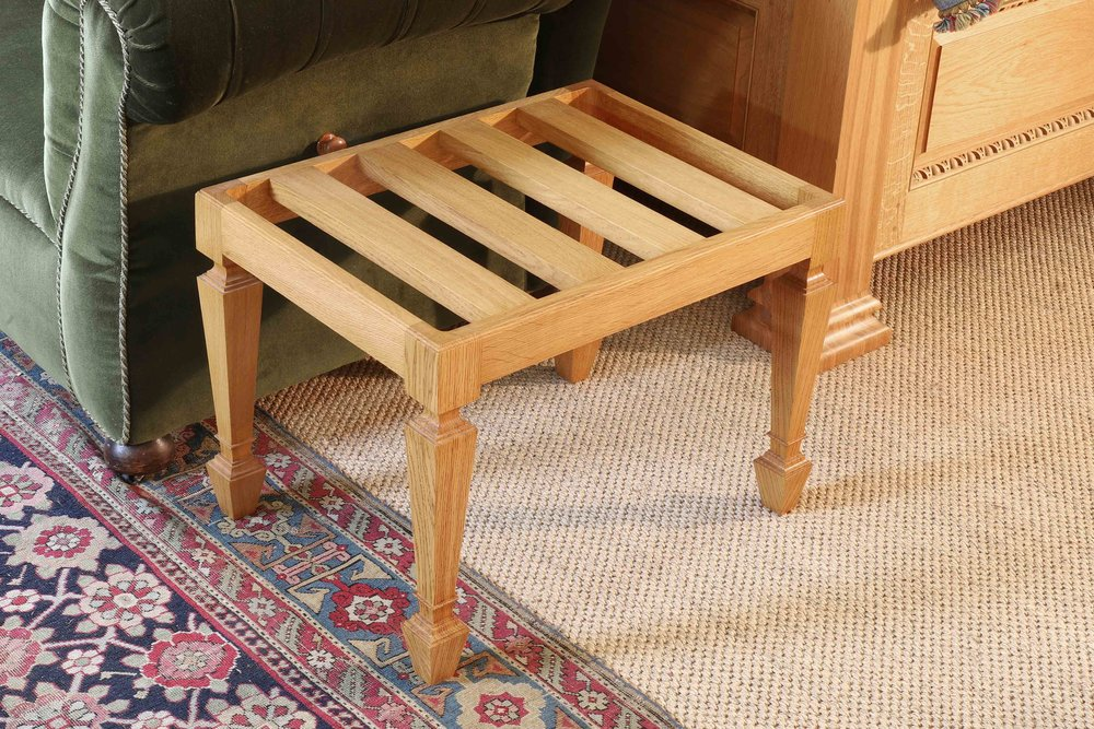 Bespoke luggage holder in oak, set of twelve, Marchmont house.