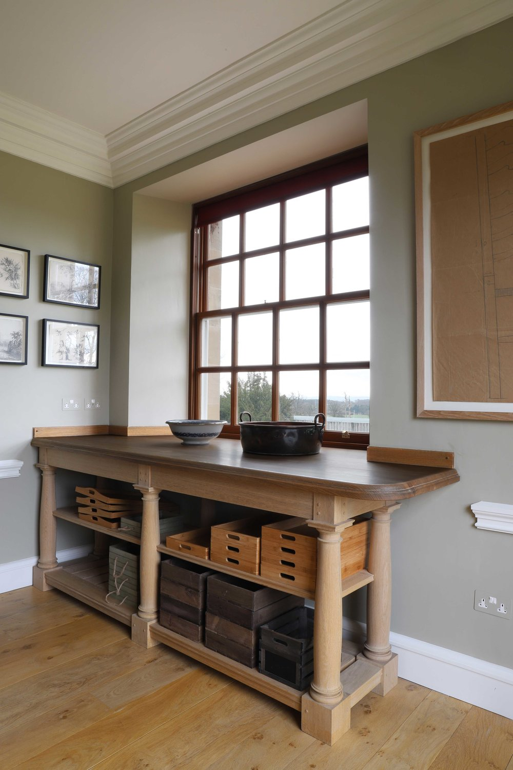 Fitted countertop fro kitchen gallery with turned column style legs, Marchmont House.