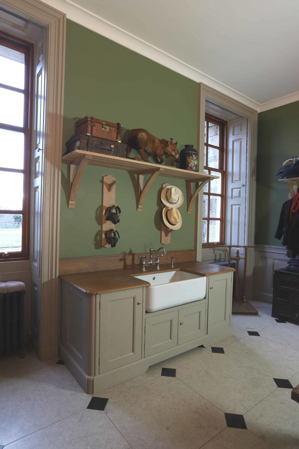 Painted Belfast sink unit with oak top, Marchmont House, Greenlaw.