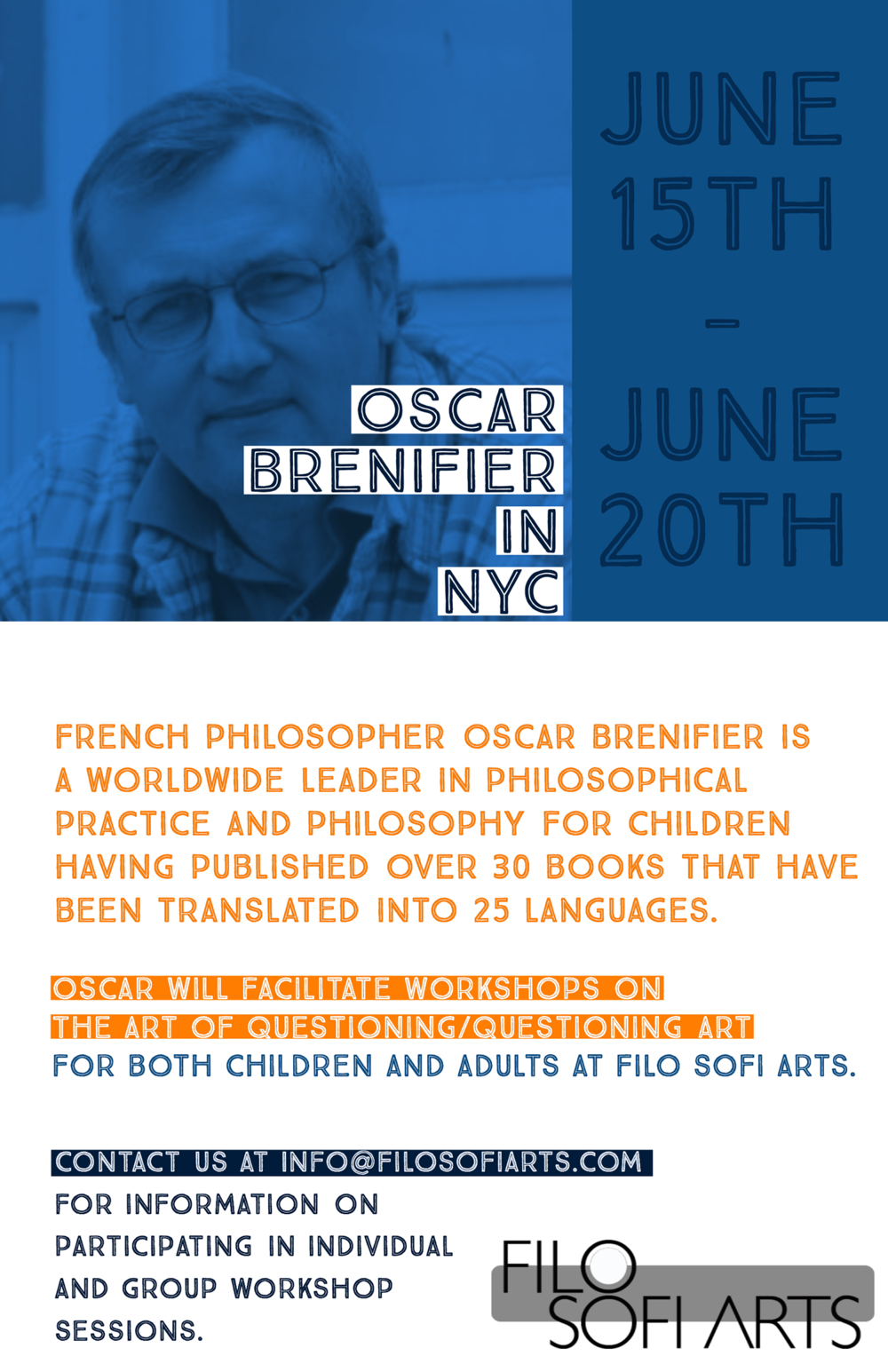 Workshops on the art of questioning at Filo Sofi Arts Gallery in NYC by worldwide philosopher Oscar Brenifier.