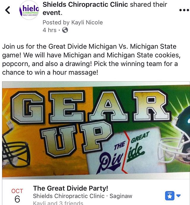 Don't miss the Great Divide Party  The docs will be gone so come and party with the staff  #shieldschiropractic  #bestofthebest  #winnerwinnerchickendinner  #gosparty  #goblue