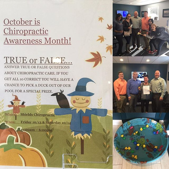 It's chiropractic awareness month! Every Friday and Saturday we will be hosting different activities! Come visit us!! 😄🐥