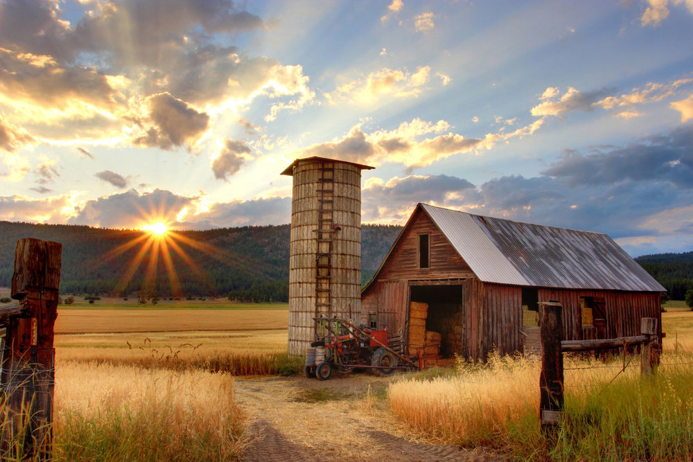Rustic barn and silo during sunset. Transparent tools for the food community.