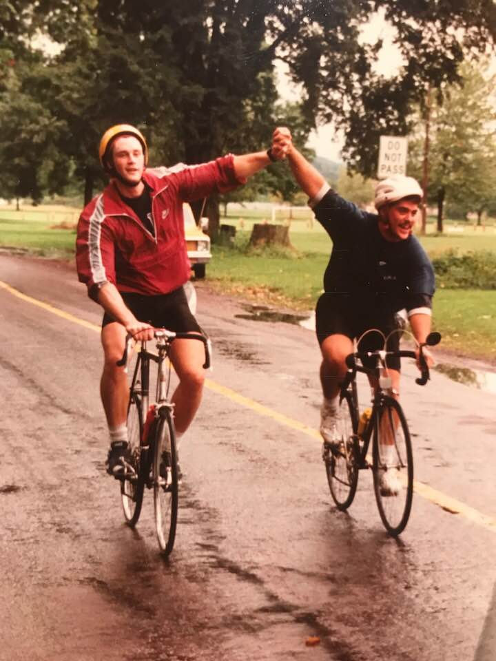 Eric and Todd Talarico.  Freshman roomates.  Who knew they could ride bikes.
