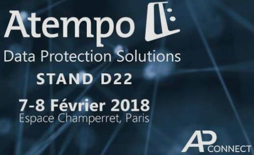Les équipes Atempo seront présentes lors de la première édition d'AP Connect en 2018 (STAND D22)