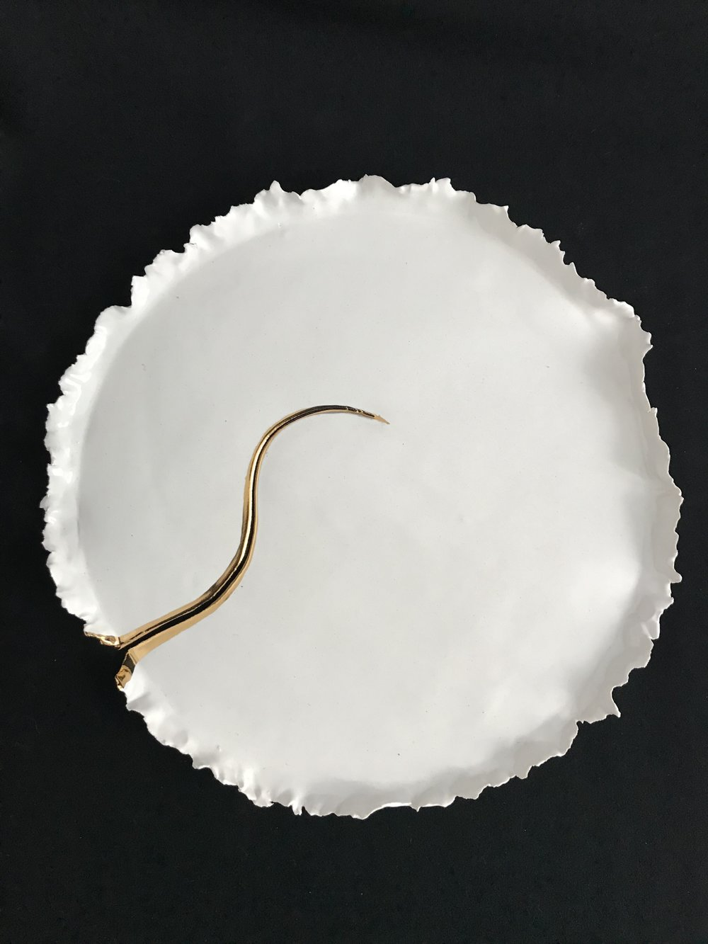 "Victoria Lotus Leaf: How the Light Gets In (S Curve),  glazed porcelain with gold on cracked area only, 1""H rim x 12.75""diameter, 2017  $325"