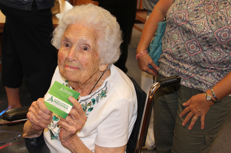 Velma Wortman gets her Evergreen Card!
