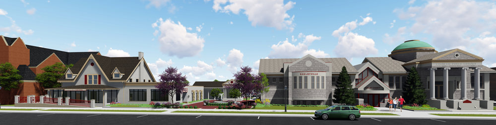 2016 architectural renderings for updates to the Shelby County Public Library property.