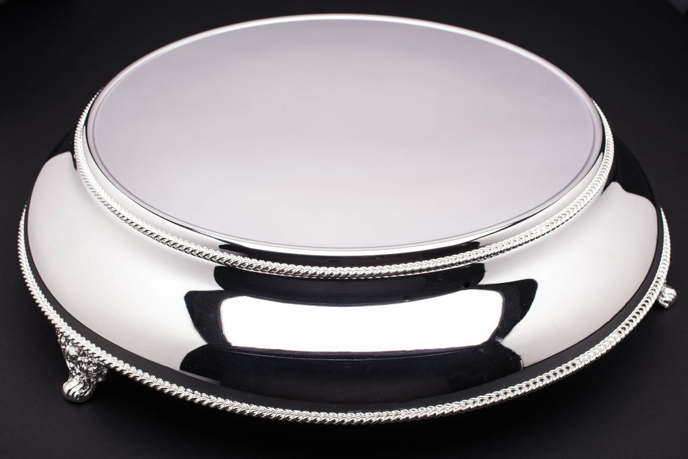 "Polished Silver Cake Display - 14""/15.5""/18"""