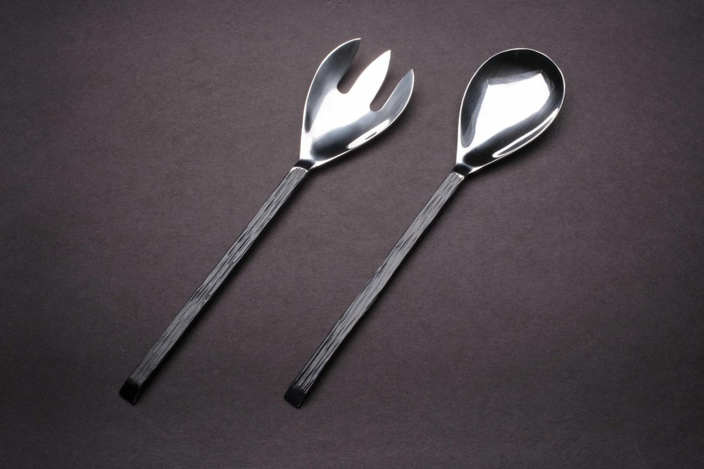 Slotted Fork and Service Spoon - Dark Pewter