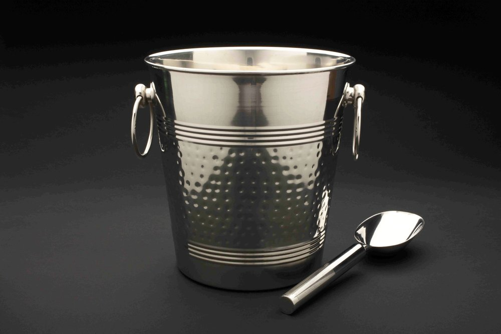 Ice Bucket and Scoop - Hammered Stainless Steel