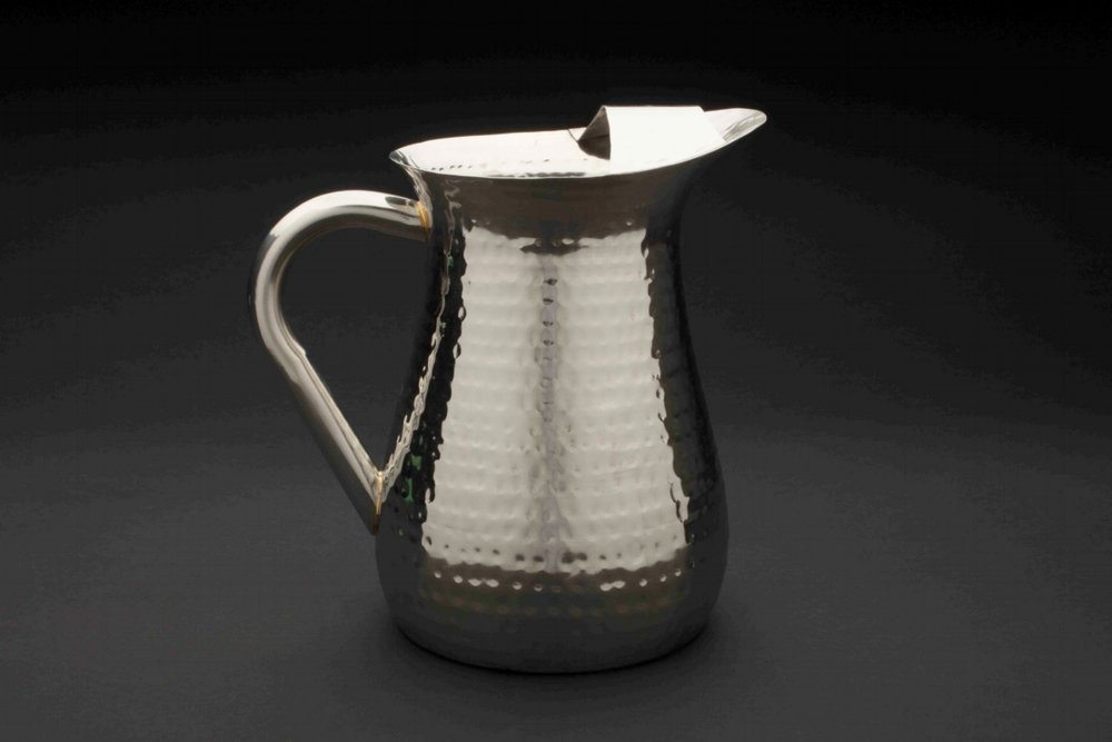 Pitcher with Ice Guard - Hammered Stainless Steel 72 oz.