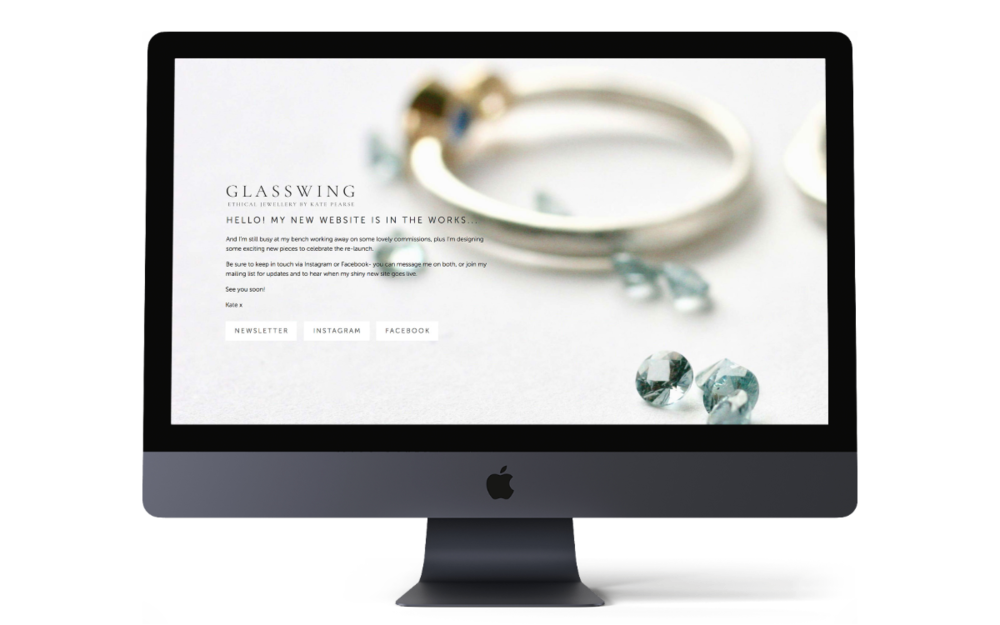 Glasswing Jewellery cover page - rebrand and fresh new responsive Squarespace website coming soon